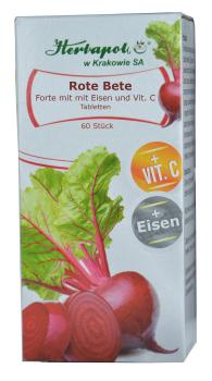 Rote Beete forte - ein Immunstärker aus dem Garten mit Eisen und Vitamin C, wirkt blutbildend,  60 Tabletten