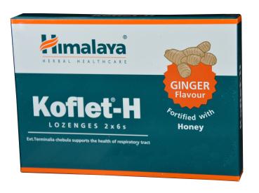 Himalaya Koflet-H, 12 Lutschtabletten mit asiatischen Kräutern,  - gegen Viren, Bakterien, bei Halsschmerzen, Halsentzündung, bremsen Husten, lösen schleim auf, Geschmack Ingwer