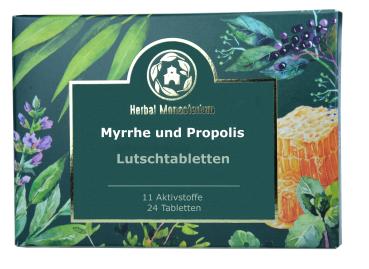 Myrrhe und Propolis plus 8 Kräuter-und Aktivstoffe, gegen Viren und Bakterien, für Kinder und Erwachsene bei Erkältung, Halsschmerzen, 24 Lutschtabletten