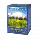 Manjishta, Ayurvedic loose tea, 100g, for respiratory infections, cold, fights infectious agents, expectorant, contain triphala and another 11 herbs, also with other inflammations, soothes The herbal mixture with 14 herbs effectively combats bacteria, vir